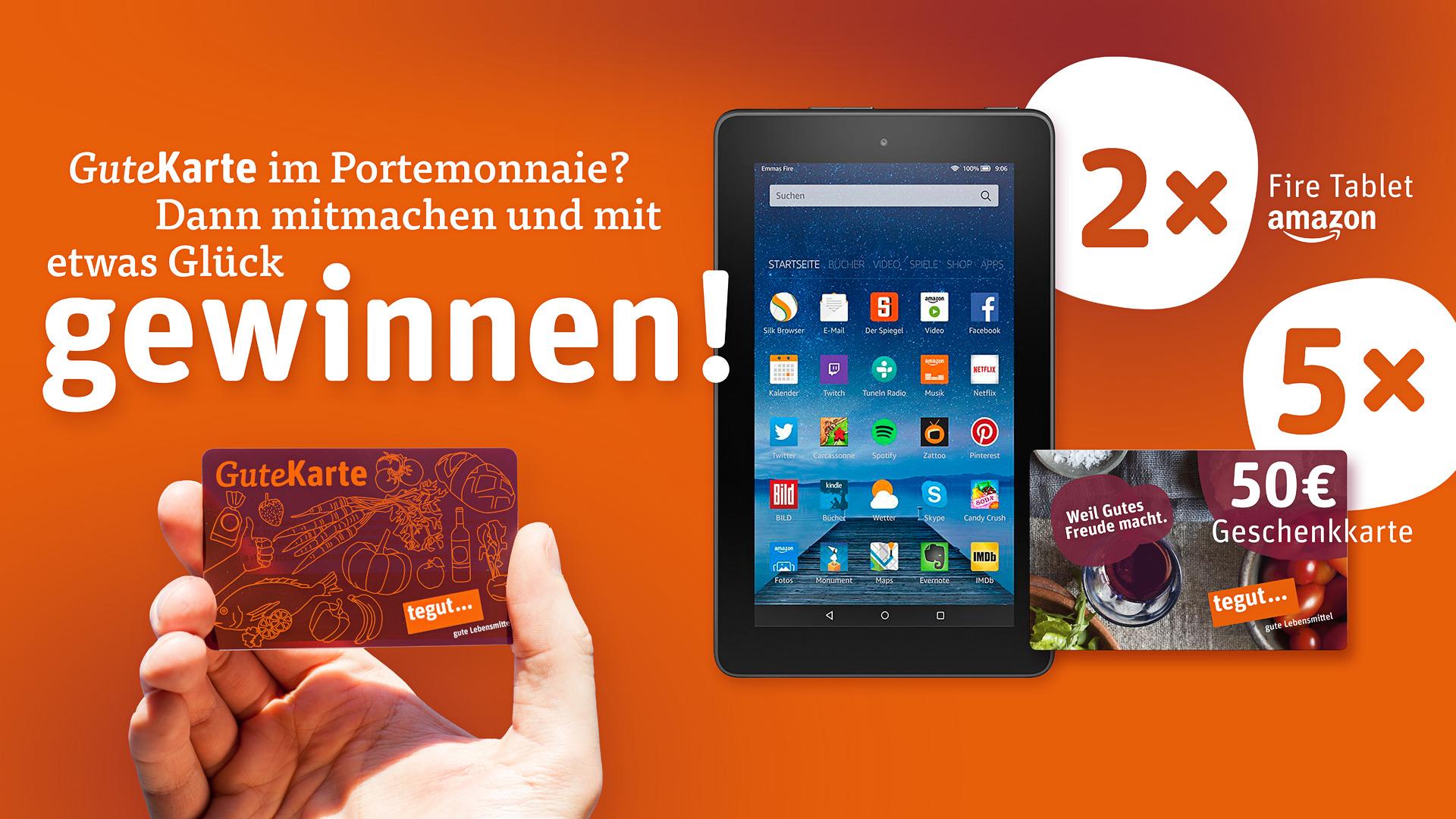 tegut gute karte GuteKarte Gewinnspiel: Amazon Kindle Fire oder tegut