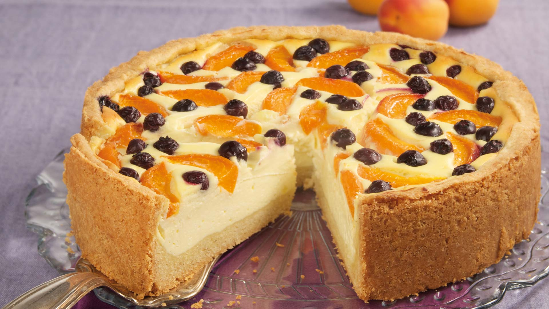 Aprikosen Quarkkuchen Mit Heidelbeeren Rezept Tegut