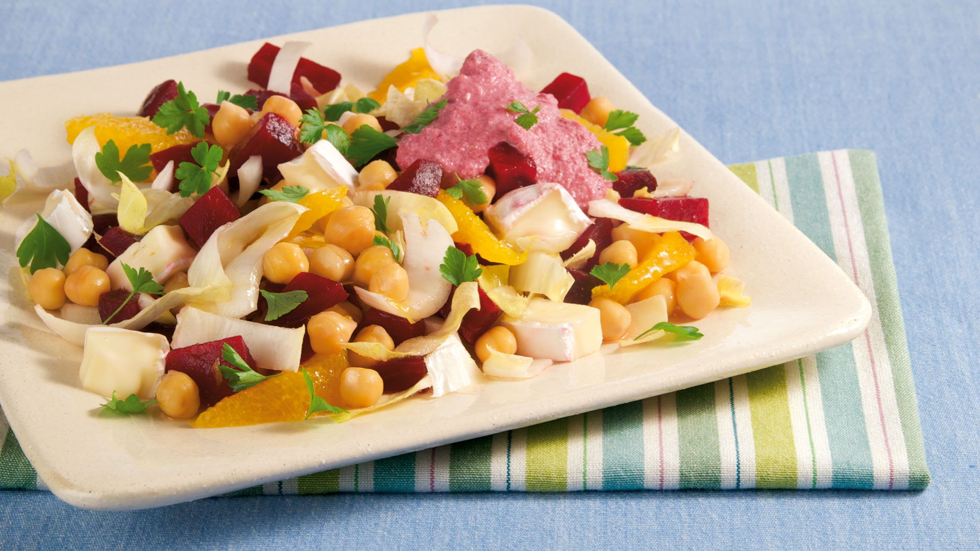 Chicoree Salat Mit Kichererbsen Und Rote Bete Dressing Rezept Tegut