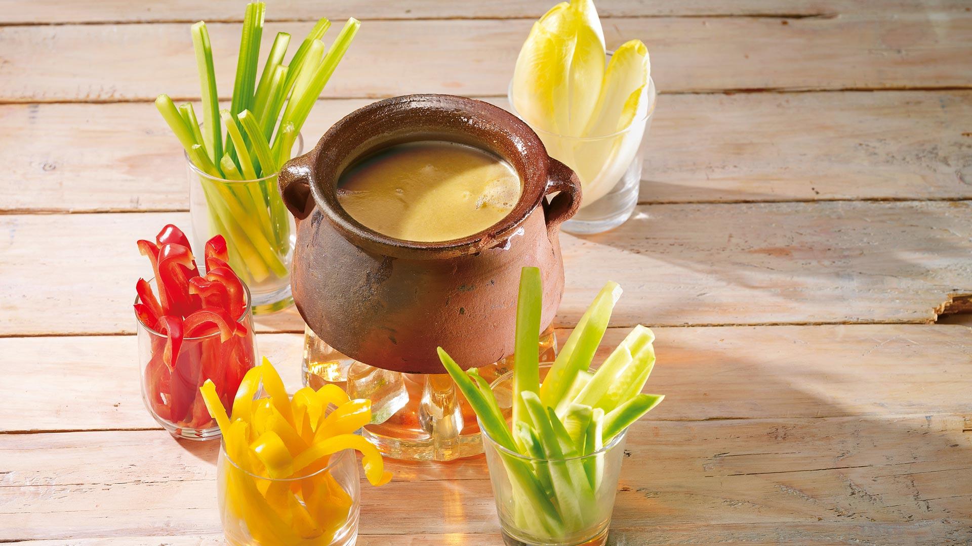 Bagna cauda gemüse mit knoblauch sardellen sauce rezept tegut