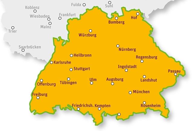 süden deutschland karte Urlaub im Süden Deutschlands | tegut