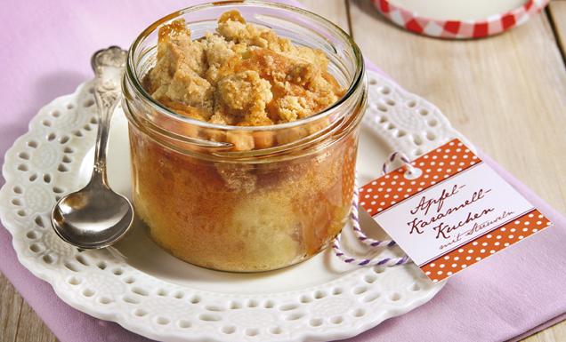 Kuchen im Glas: Apfel-Karamell-Kuchen mit Streuseln Rezept | tegut...